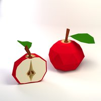 3D apple half