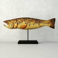 hand carved wooden fish 3D model