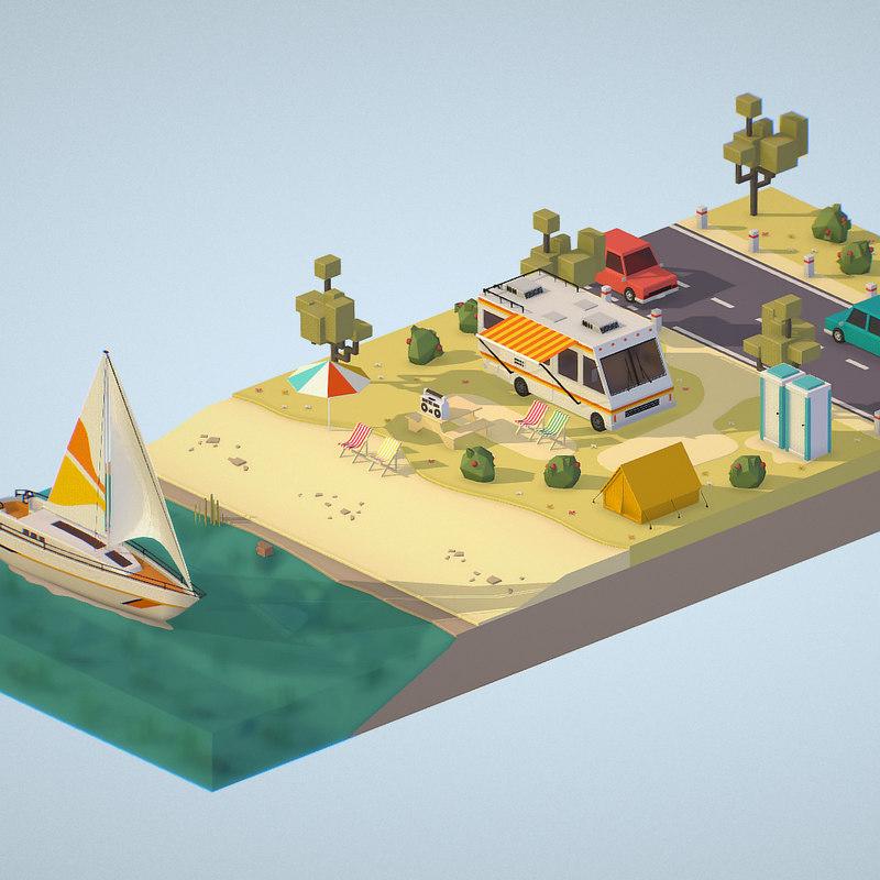isometric illustrate 3D model