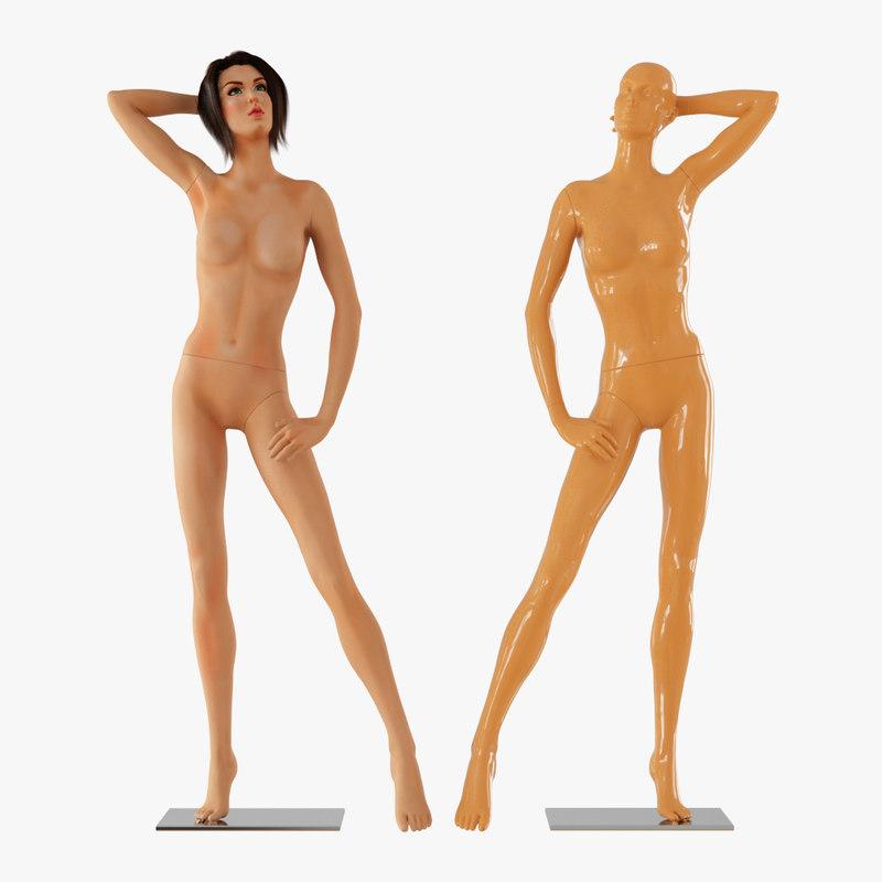 hair realistic female mannequin 3D