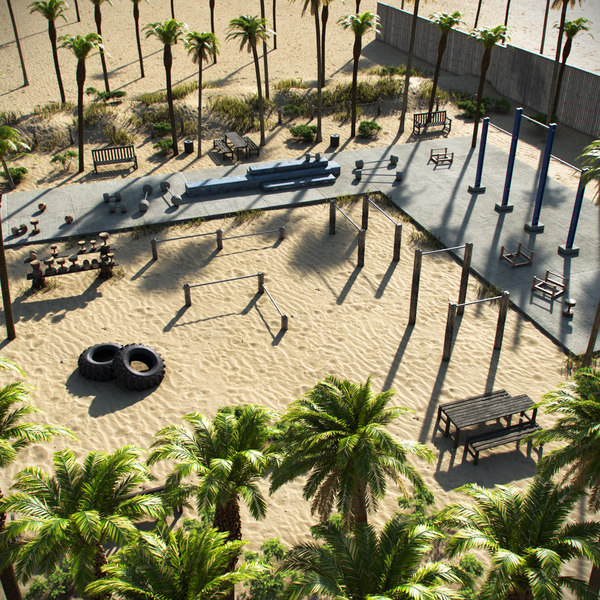 beach workout gym 3D model