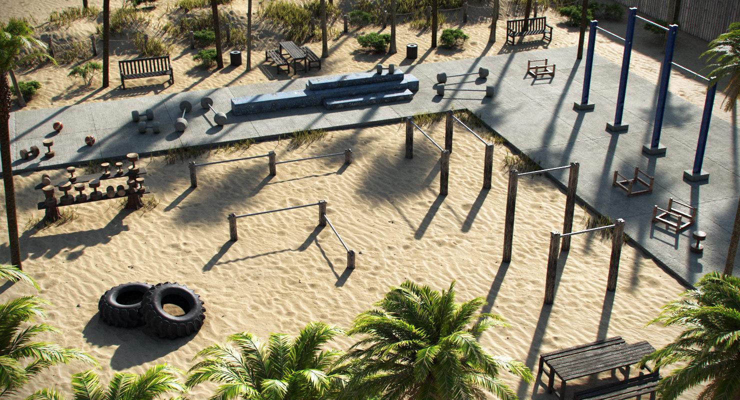 beach workout gym 3D model