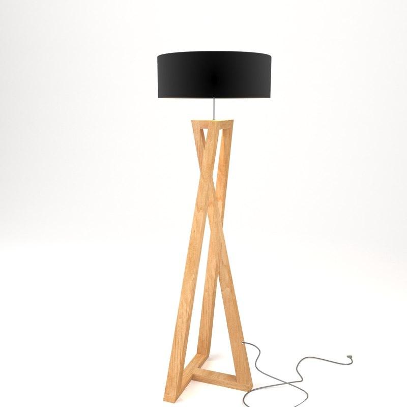 floor lamp wood 3D model