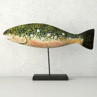 3D hand carved wooden fish model