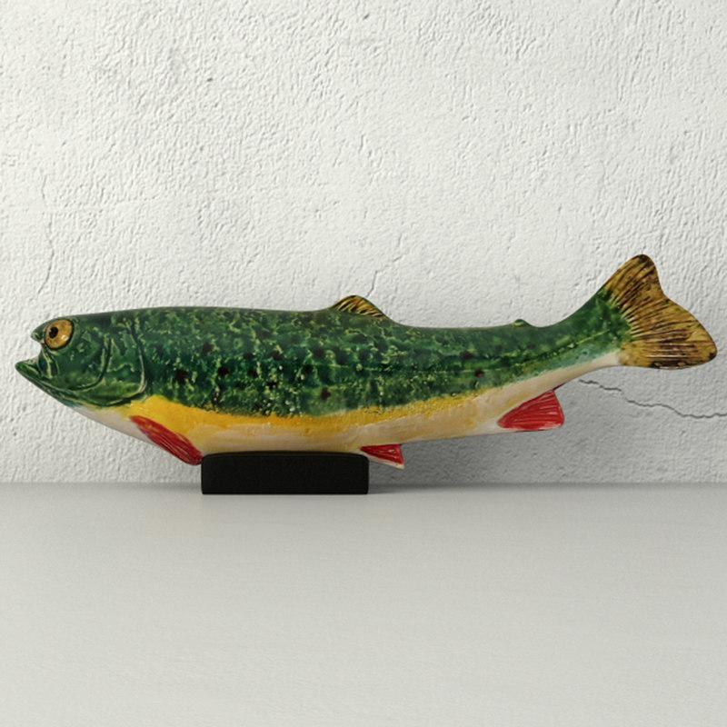 sculpture pottery rainbow trout 3D