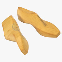 3D antique wooden shoe