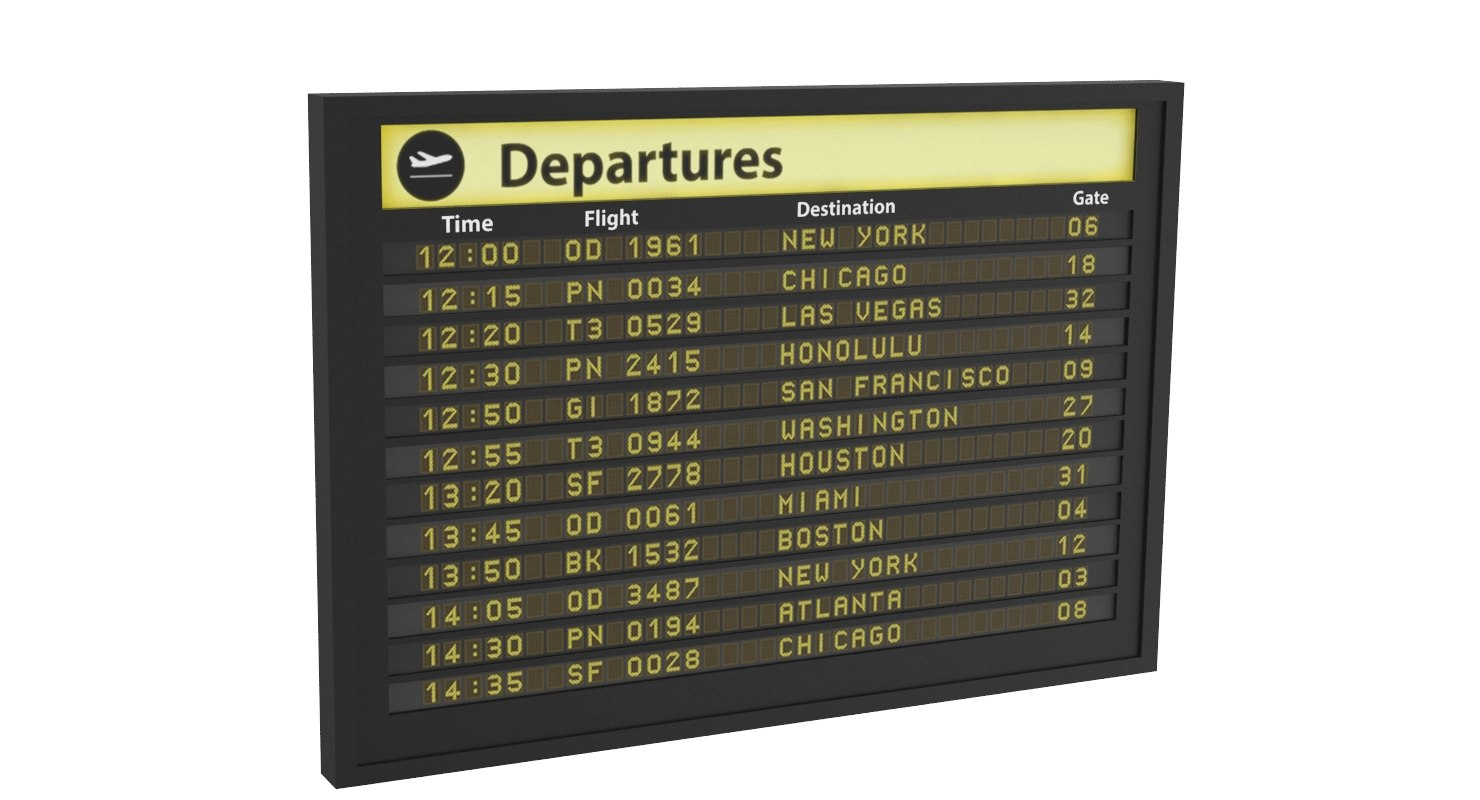 3D airport information board