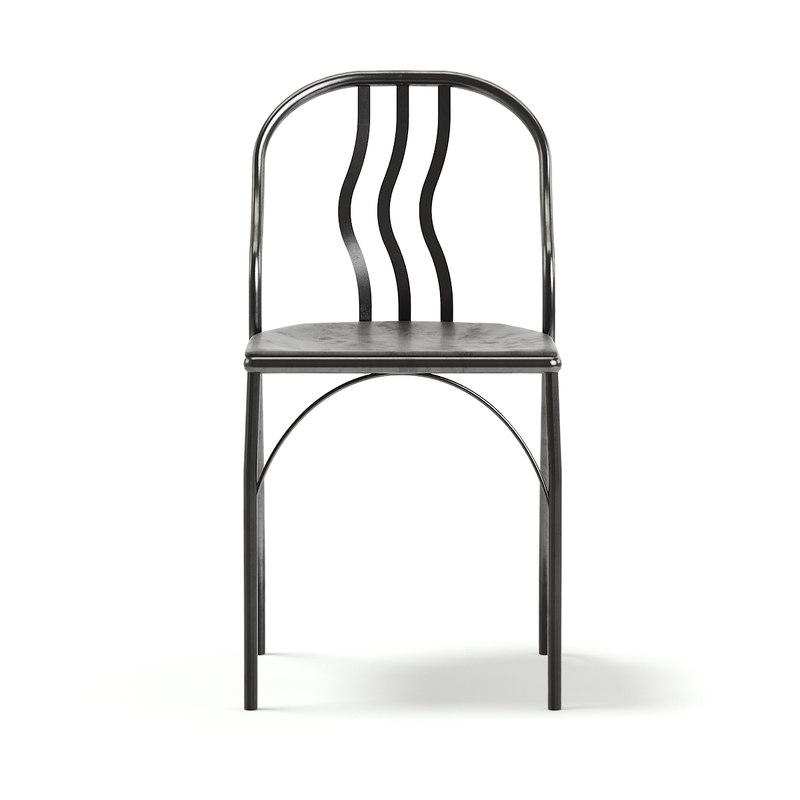 3D model black metal chair