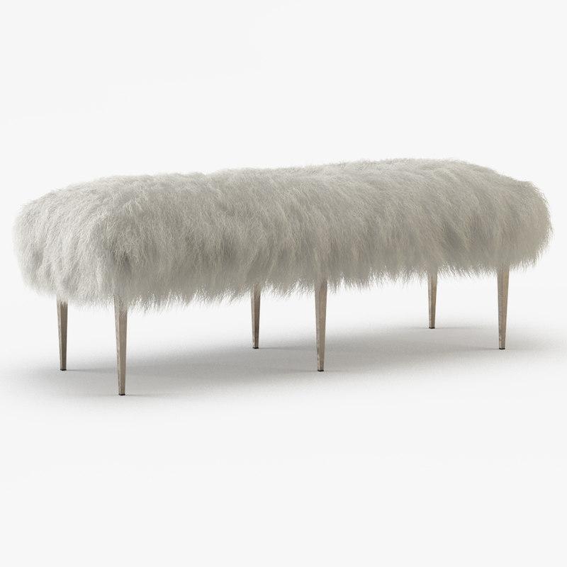 3D model wool stiletto bench
