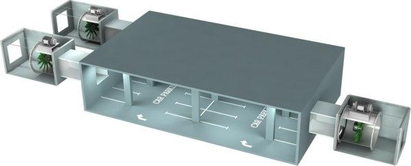 3D car park ventilation model