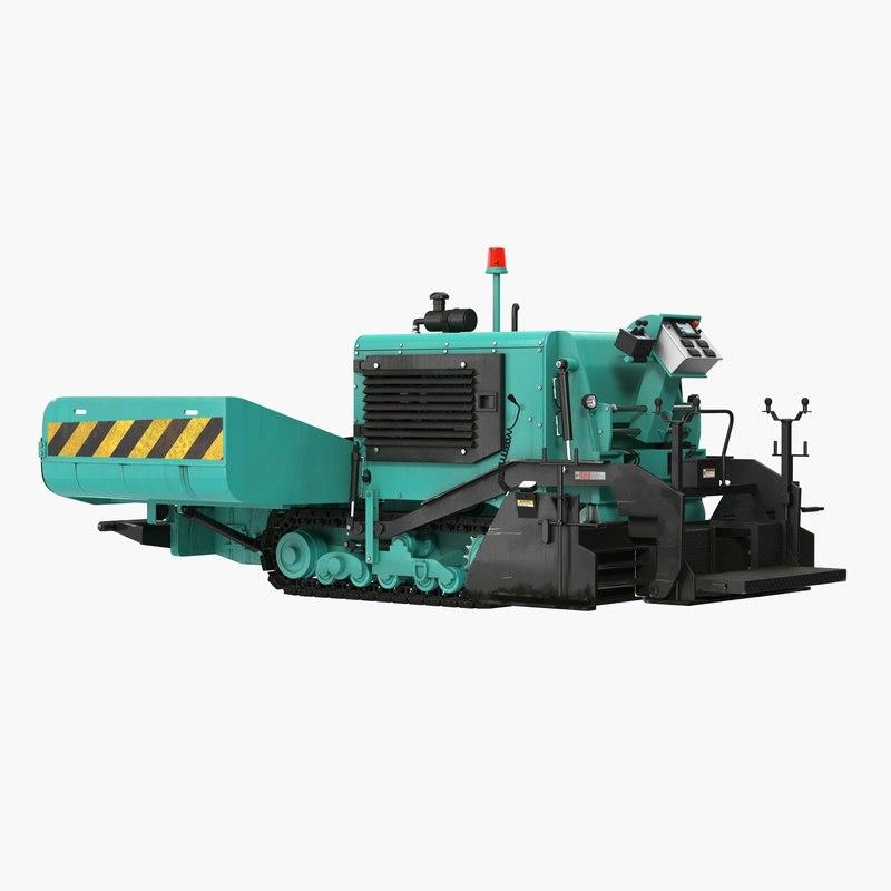 3D asphalt paving machine rigged