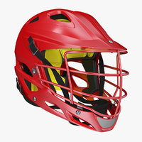 red lacrosse helmet generic 3D model