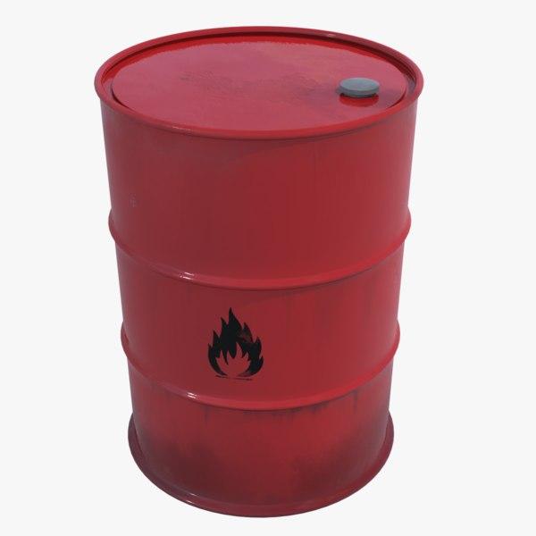 explosive flammable barrel 3D model
