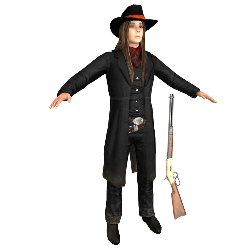 3D model female cowboy woman hat