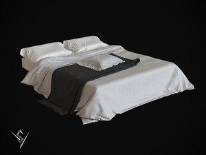 3D model bedclothes 3 bed