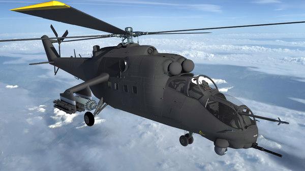 russian combat helicopter mi-35 3D model