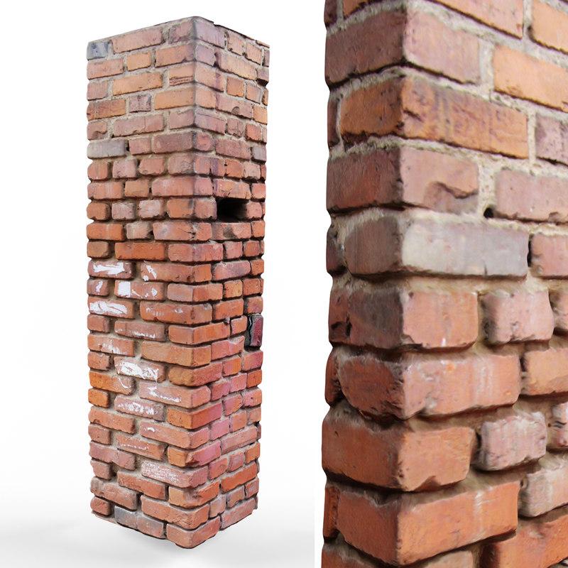 old brick pillar 3D