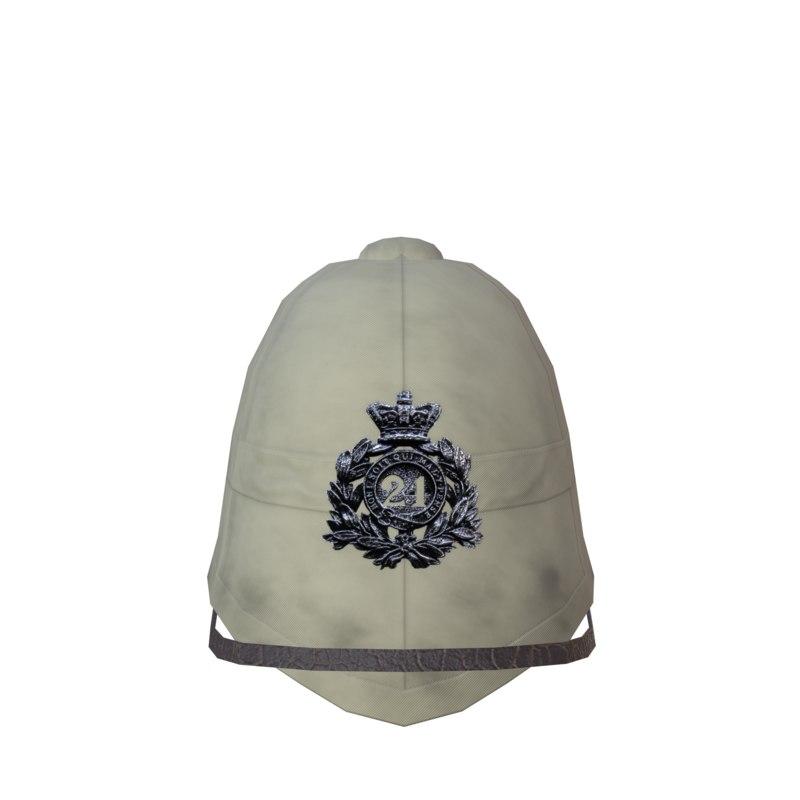 3D model zulu pith british helmet