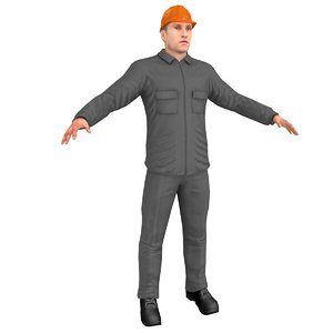 3D model character worker person
