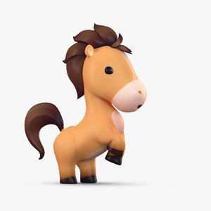 3D cute cartoon horse model
