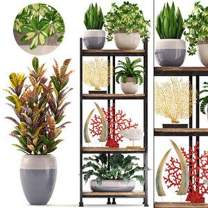 3D shelf decor tropical plants