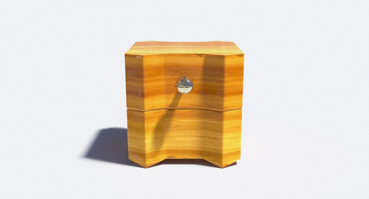 wooden nightstand x 3D