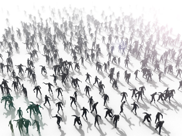zombie crowd people 3D
