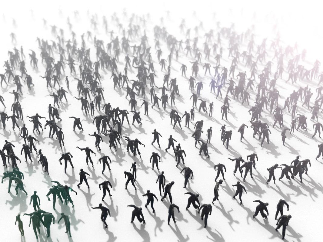 zombie crowd people 3D