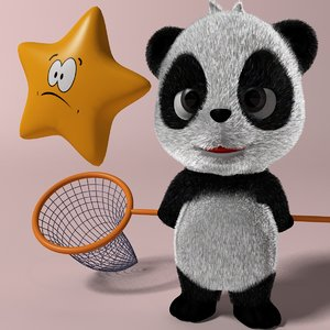 cartoon panda rigged anime 3D