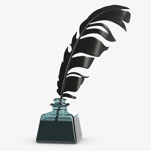 3D inkwell quill