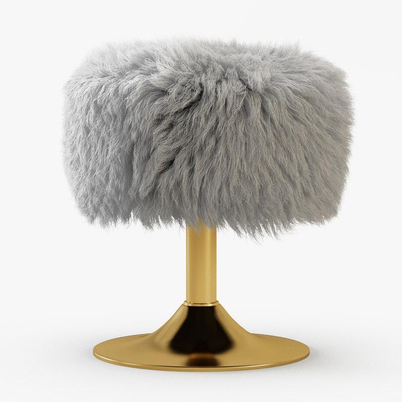 3D white faux fur stool