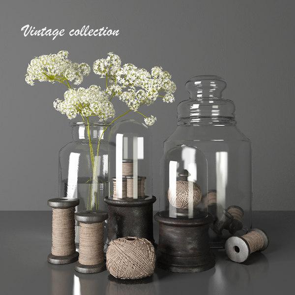 3D vintage decorative set -
