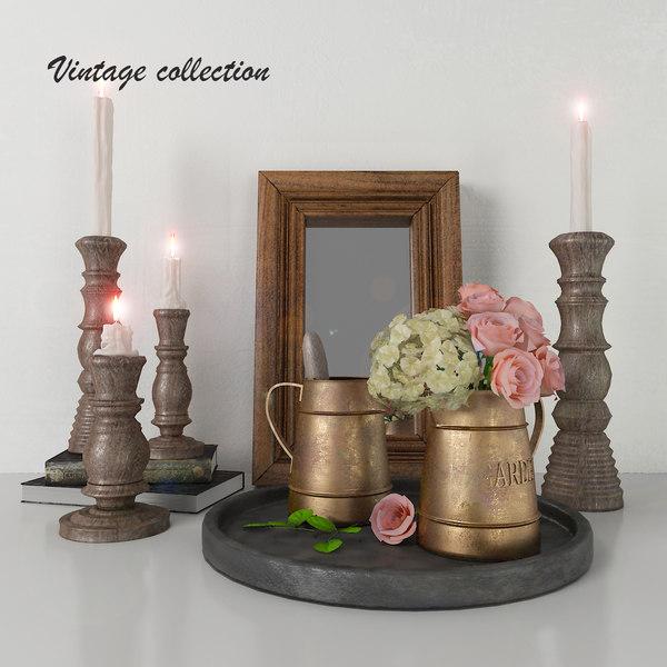 3D model vintage decorative interior set