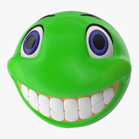 green smile face 3D model