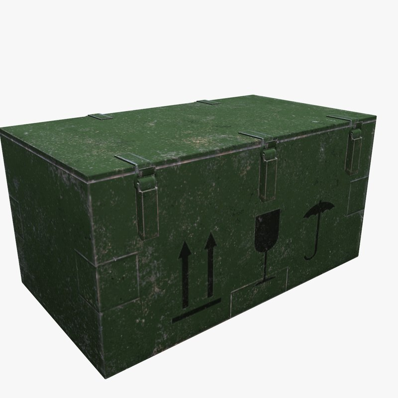 3D army box metal model