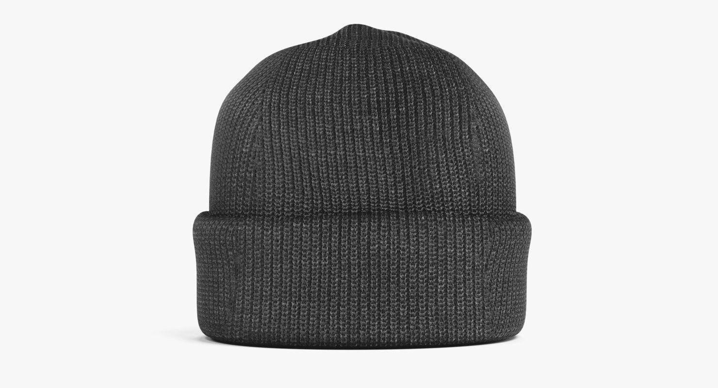 3D winter cap black