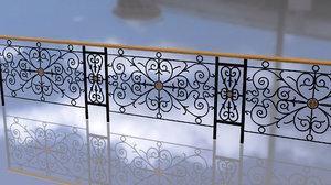 3D pattern vintage forged fence model