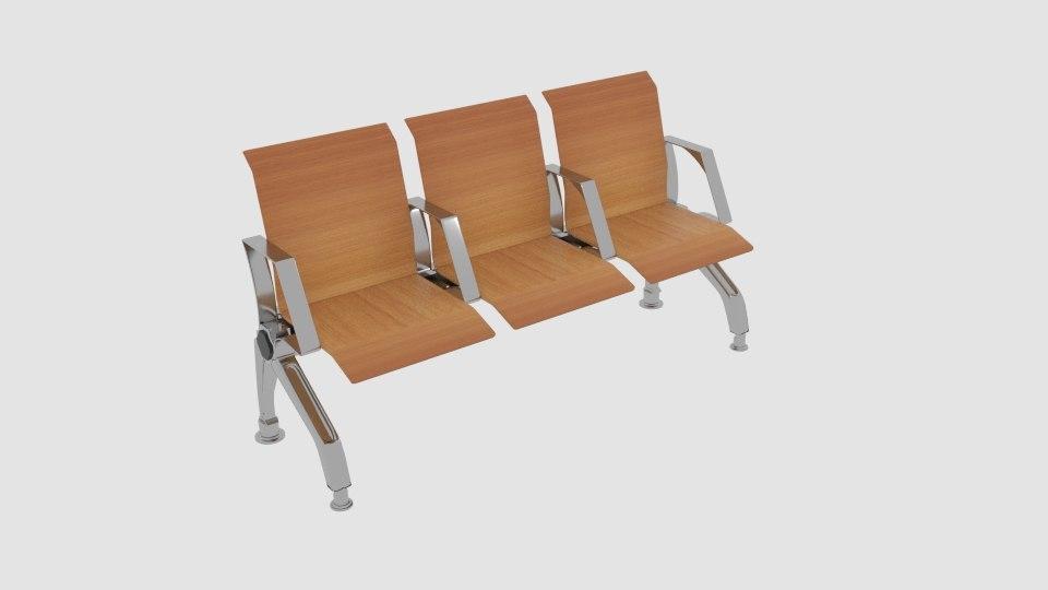 wooden waiting chair 3D model