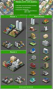 voxel city buildings 3D model
