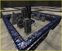 3D sci-fi fortress wall