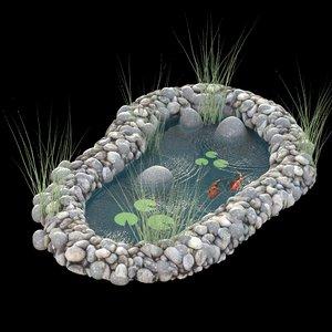 3D model water garden coy pond