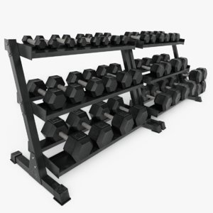 hex dumbbell set 3D