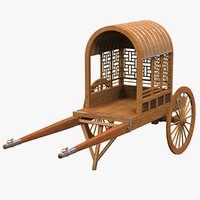 3D model chinese wooden carriage chariot