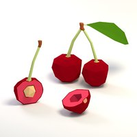 3D cherry cartoon model