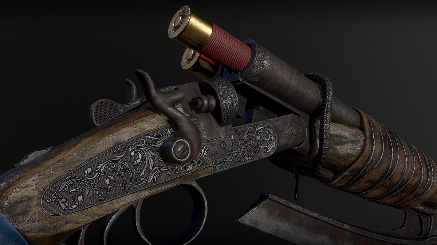 shotgun sawed gun 3D model