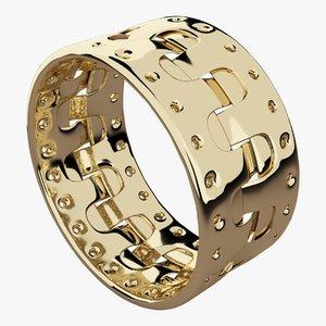 gold bracelet old 3D model