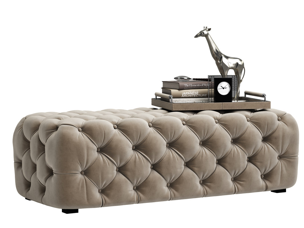 zgallerie bench tufted 3D model