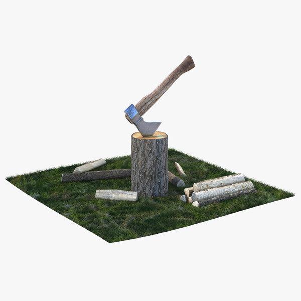 chopping firewood grass realistic 3D model