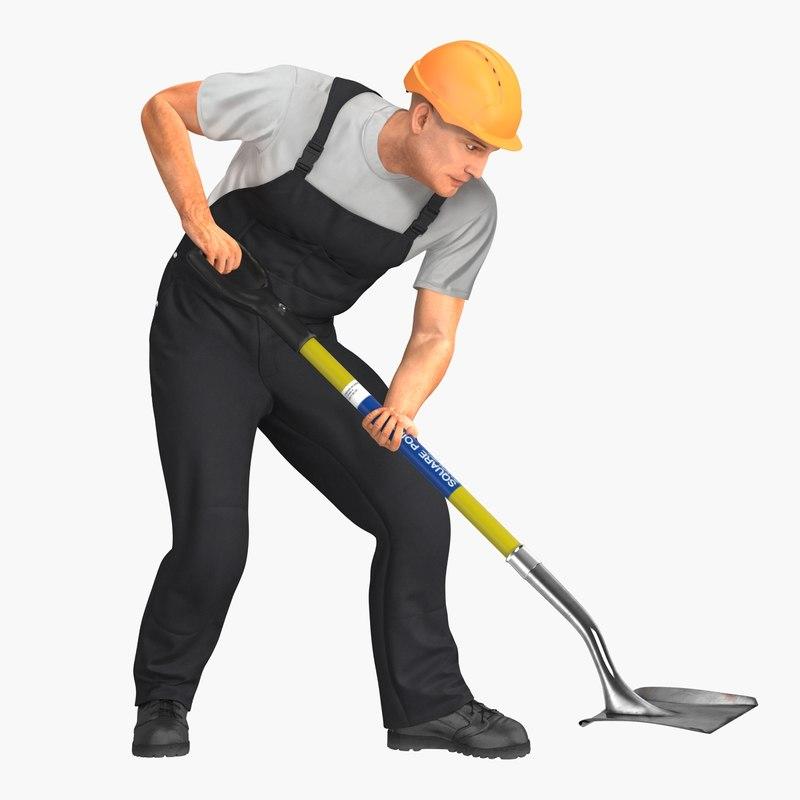 3D construction worker digging shovel model