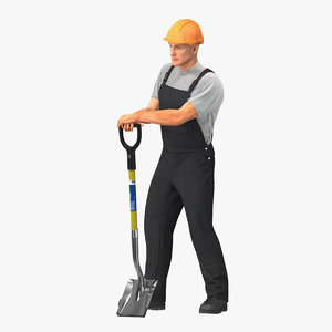 construction worker stand shovel 3D model